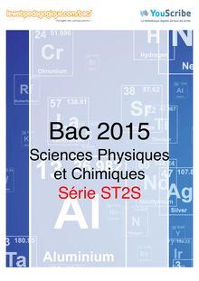 Corrigé Bac 2015 - Sciences physiques et chimiques - ST2S