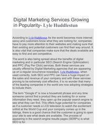 Digital Marketing Services Growing in Popularity- Lyle Huddlestun
