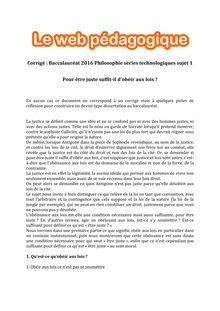 Baccalauréat Philosophie 2016 - Séries technologiques - Sujet 1