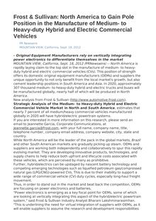 Frost & Sullivan: North America to Gain Pole Position in the Manufacture of Medium- to Heavy-duty Hybrid and Electric Commercial Vehicles