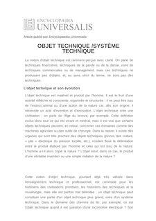 Définition et synonyme de : OBJET TECHNIQUE /SYSTÈME TECHNIQUE - Clive LAMMING