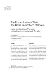 The Domestication of Man: The Social Implications of Darwin