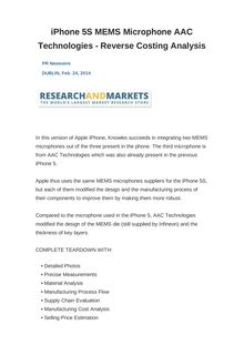 iPhone 5S MEMS Microphone AAC Technologies - Reverse Costing Analysis