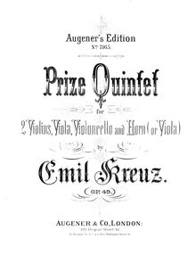 Partition viole de gambe, quintette pour cor et cordes, Op.49, Prize Quintet for Horn (or Viola), Violin, 2nd Violin, Viola and Cello