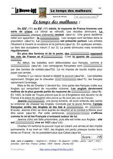 Le temps des malheurs Du XIV e 15e au XV e 16e siècle le royaume de France traverse une