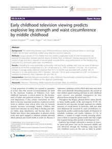 Early childhood television viewing predicts explosive leg strength and waist circumference by middle childhood