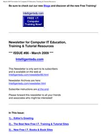 March 2009 Newsletter for Computer IT Education, Training & Tutorial  Resources