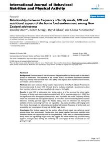 Relationships between frequency of family meals, BMI and nutritional aspects of the home food environment among New Zealand adolescents
