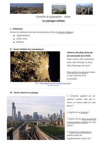 Contrôle corrigé sur les paysages urbains - géographie 6ème
