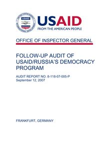 Follow-up Audit of USAID Russia's Democracy Program