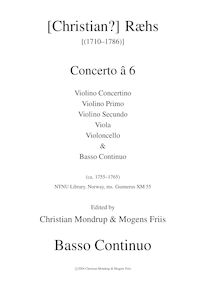 Partition Continuo (Basses, Keyboards, etc.), Concerto â 6, D Major