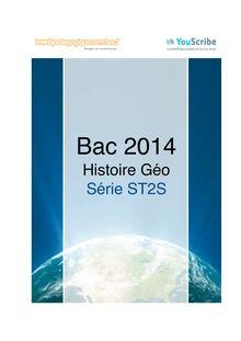 Corrigé bac 2014 - Série ST2S - Histoire-géographie