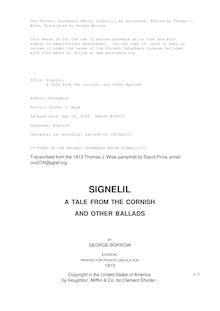 Signelil - a Tale from the Cornish, and Other Ballads
