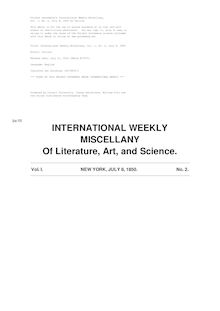 International Weekly Miscellany — Volume 1, No. 2, July 8, 1850