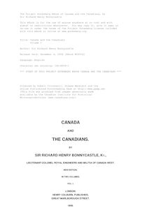Canada and the Canadians - Volume I