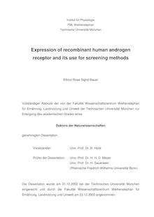 Expression of recombinant human androgen receptor and its use for screening methods [Elektronische Ressource] / Ellinor Rose Sigrid Bauer