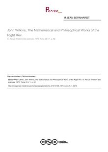 John Wilkins, The Mathematical and Philosophical Works of the Right Rev.  ; n°1 ; vol.25, pg 82-82