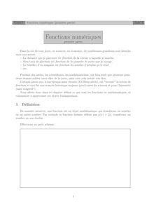 Chapitre sur les fonctions numériques (1) Cours 1