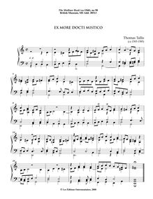 Partition 9, Ex more docti mistico, pour Mulliner Book, Keyboard: organ or harpsichord