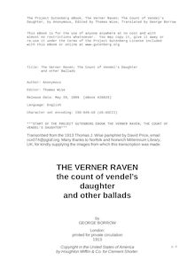 The Verner Raven; The Count of Vendel