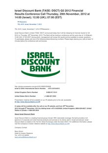 Israel Discount Bank (TASE: DSCT) Q3 2012 Financial Results Conference Call Thursday, 29th November, 2012 at 14.00 (Israel);  12.00 (UK);  07.00 (EST)