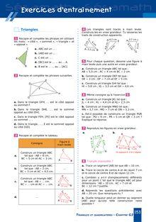 Chapitre G3 6ème : Triangles et quadrilatères - Exercices d'entraînement