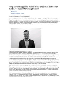 dmg :: events appoints James Drake-Brockman as Head of EMEA for Digital Marketing Division