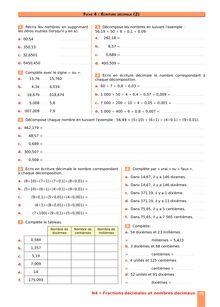 Chapitre N4 CM2 : Fractions décimales, nombres décimaux : Écriture décimale (2)