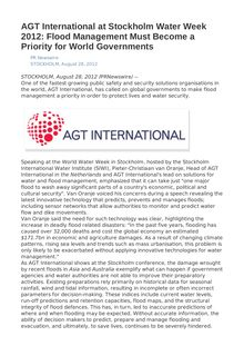AGT International at Stockholm Water Week 2012: Flood Management Must Become a Priority for World Governments