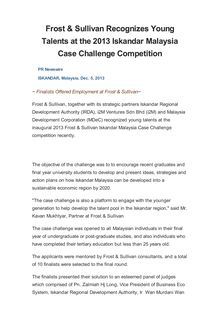 Frost & Sullivan Recognizes Young Talents at the 2013 Iskandar Malaysia Case Challenge Competition