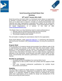 Social Accounting and Audit MasterClass