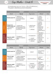 Mathématiques CP – Préparation des séances, leçons et fiches d'exercices - Période 2 – Cap Maths Unité 6 Organisation des séances