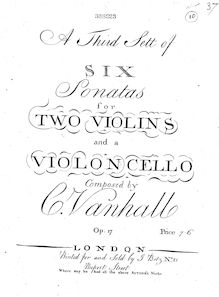Partition violoncelle, 6 corde Trios, Op.17, A third sett of six sonatas for two violins and a violoncello