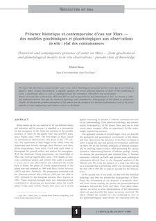 Présence historique et contemporaine d'eau sur Mars — des modèles géochimiques et planétologiques aux observations in situ : état des connaissances - Michel Detay