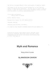 Myth and Romance - Being a Book of Verses