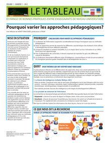 Pourquoi varier les approches pédagogiques?