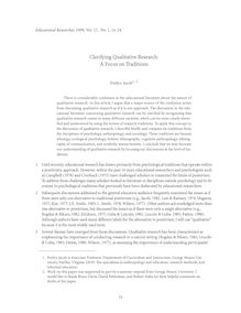 Clarifying Qualitative Research: A .ocus on Traditions