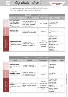 Mathématiques CE1 – Organisation des séances, exercices et leçons : Périodes 1 et 2 - Unité 1 Organisation des séances