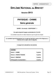 Exemple d'épreuve de physique-chimie -3e