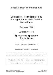Baccalauréat Mercatique 2016 - Série STMG