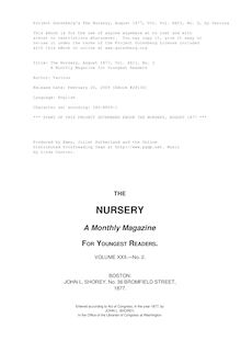 The Nursery, August 1877, Vol. XXII, No. 2 - A Monthly Magazine for Youngest Readers