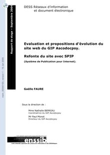 Evaluation et propositions d