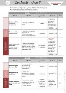 Mathématiques CE1 – Organisation des séances, exercices et leçons : Périodes 1 et 2 - Unité 3 Organisation des séances