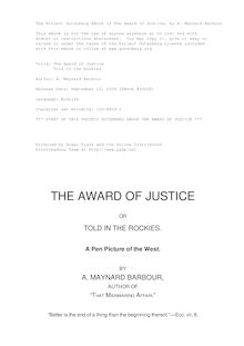 The Award of Justice - Or, Told in the Rockies - A Pen Picture of the West