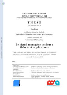 Le signal monogène couleur : théorie et applications, The Color Monogenic Signal : theory and applications