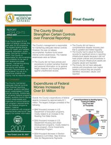 Pinal County June 30, 2007 Report Highlights - Single Audit
