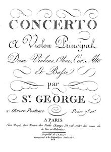 Partition violons II, violon Concerto en D major, D major, Saint-Georges, Joseph Bologne