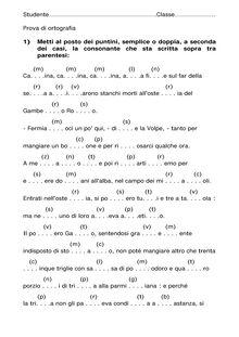 Consonanti semplici e doppie: un esercizio