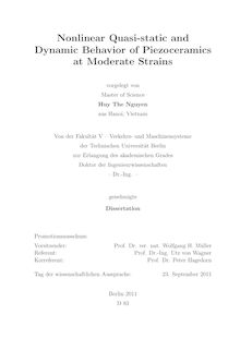 Nonlinear Quasi-static and Dynamic Behavior of Piezoceramics at Moderate Strains [Elektronische Ressource] / Huy The Nguyen. Betreuer: Utz von Wagner