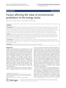 Factors affecting the value of environmental predictions to the energy sector